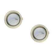 Silver Tone Genuine Semi Precious Stone Round Button Covers Blue Lace