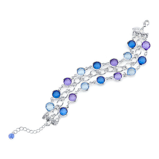 Silver-Tone Sapphire Blue And Tanzanite Purple 3-Row Link Bracelet