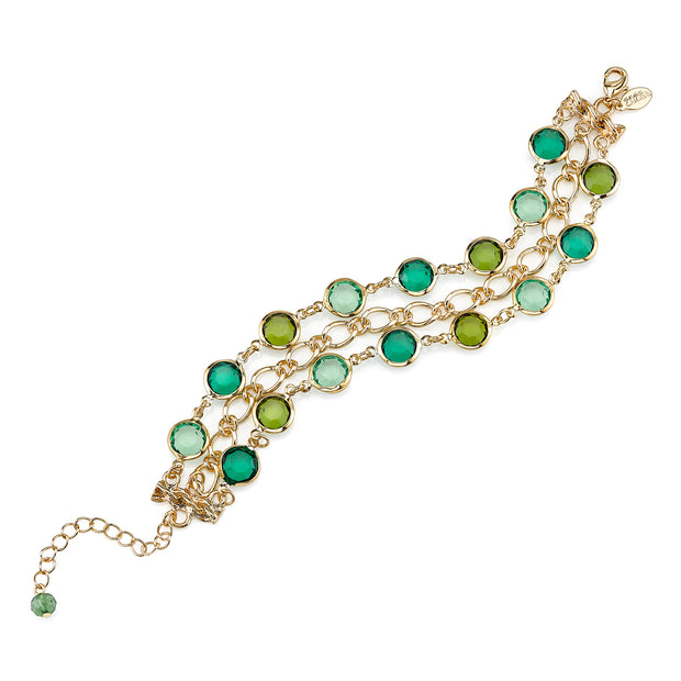 Gold Tone Green 3 Row Link Bracelet