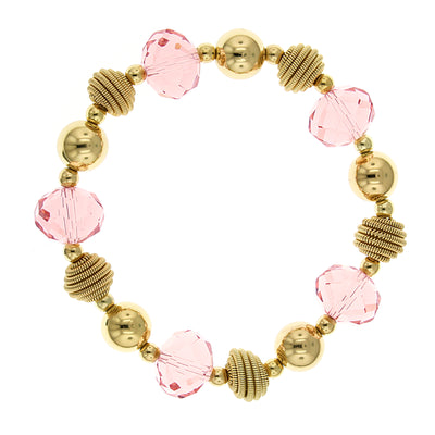 Gold-Tone Pink Glass Beaded Stretch Bracelet