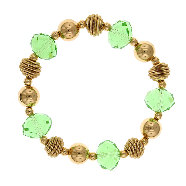 Gold Tone Green Beaded Stretch Bracelet