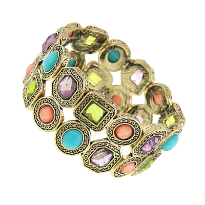 Gold Tone Multi Color Stone Stretch Bracelet