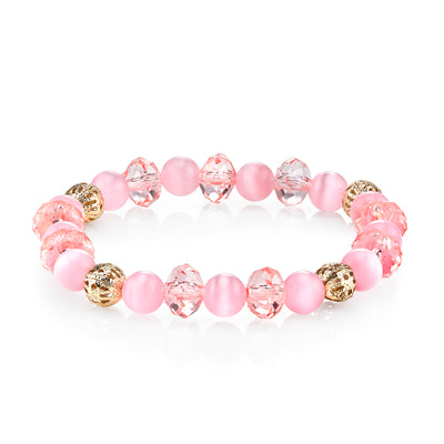 Silver Tone Pink Crystal Beaded Stretch Bracelet