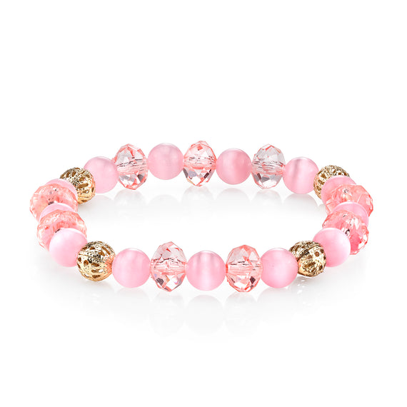Rose Pink Cat's Eye Beaded Stretch Bracelet