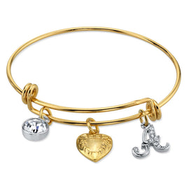 14k Gold Dipped Heart and Initial Crystal Charm Bracelets