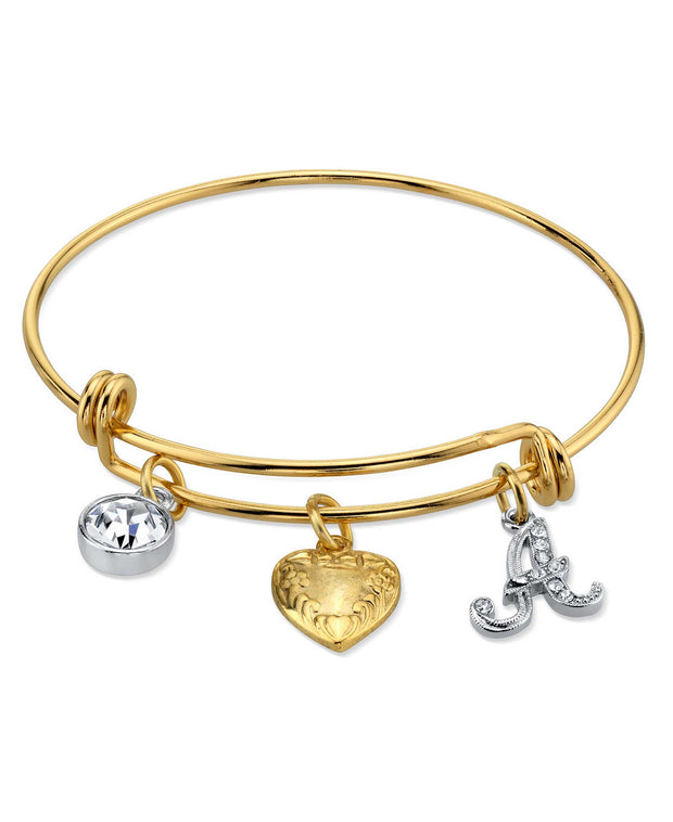 14K Gold Dipped Heart And Initial Crystal Charm Bracelet