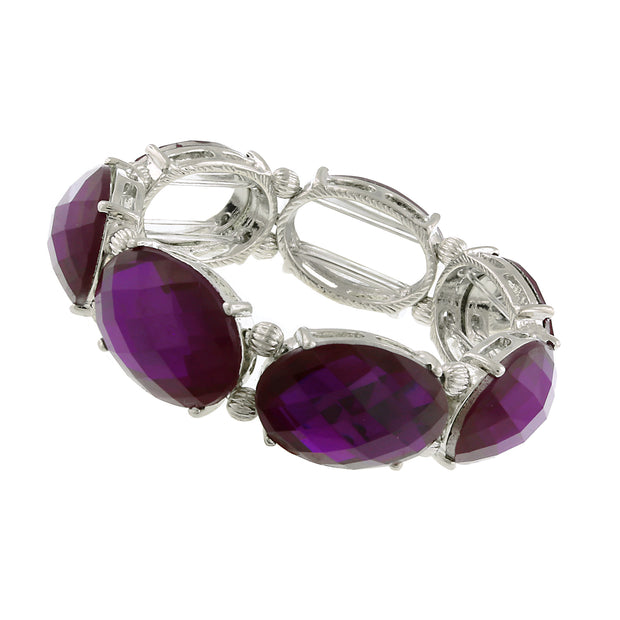 Silver Tone Purple Oval Faceted Stretch Bracelet