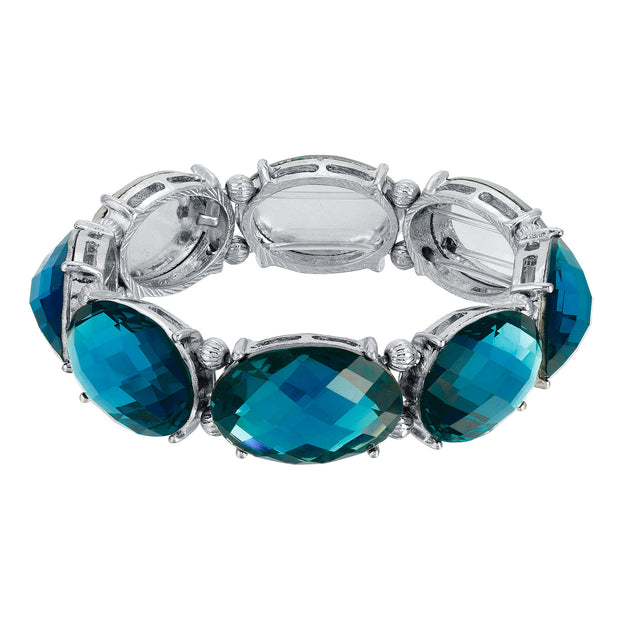Silver Tone Blue Oval Faceted Stretch Bracelet