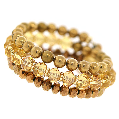 Gold Tone Lt. Colorado Topaz Beaded Coil Bracelet