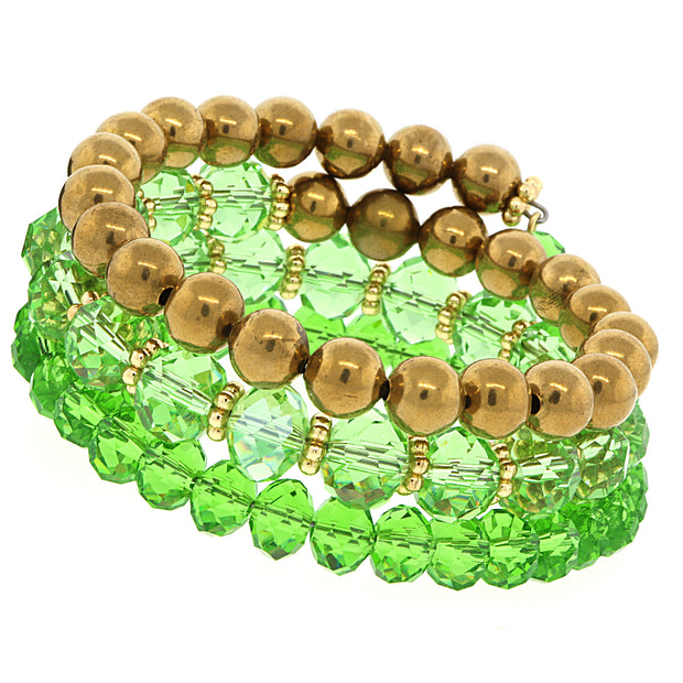 Gold-Tone Peridot Green Color Beaded Coil Bracelet