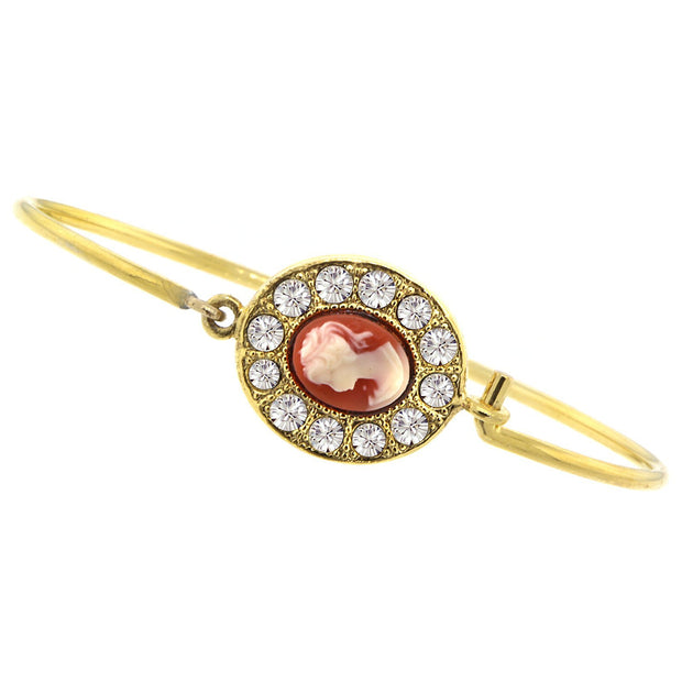 Gold-Tone Carnelian Cameo and Crystal Oval Wire Bracelet