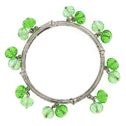 Silver Tone Green Crystal Beaded Bangle Stretch Bracelet