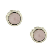 Silver Tone Genuine Semi Precious Stone Round Button Covers Rose Quartz
