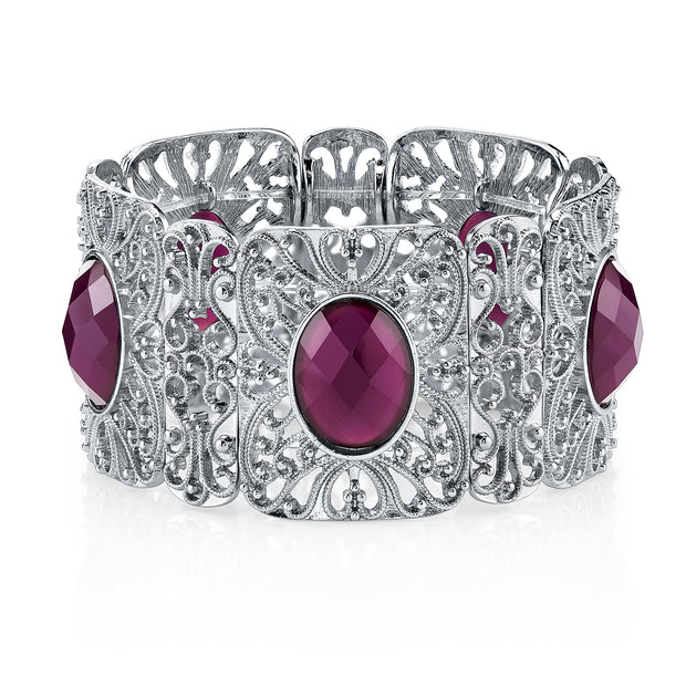Silver-Tone Purple Faceted Filigree Stretch Bracelet