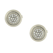 Silver Tone Pave Crystal Button Cover