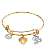 14K Gold Dipped Heart And Initial Crystal Charm Bracelet B