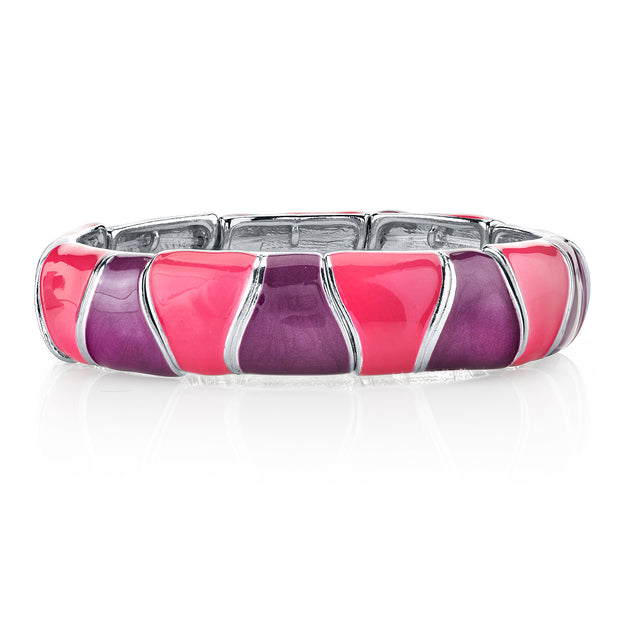 Silver Tone Pink And Purple Enamel Stretch Bracelet