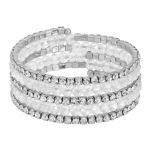 2028 Jewelry Crystal Rich Cut and Rhinestone Coil Bracelet