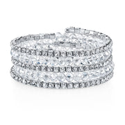 Silver-Tone Crystal Ab Rich Cut And Rhinestone Coil Bracelet