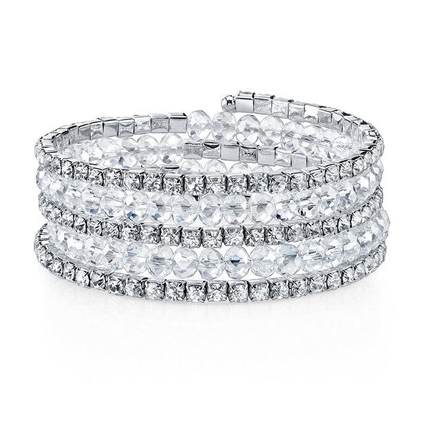 Crystal Rich Cut and Rhinestone Coil Bracelet