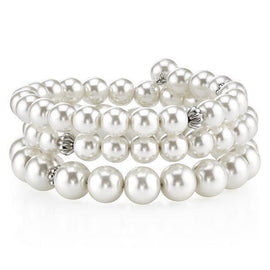 Fashion Jewelry - 2028 Silver-Tone White Faux Pearl and Crystal Coil Bracelet