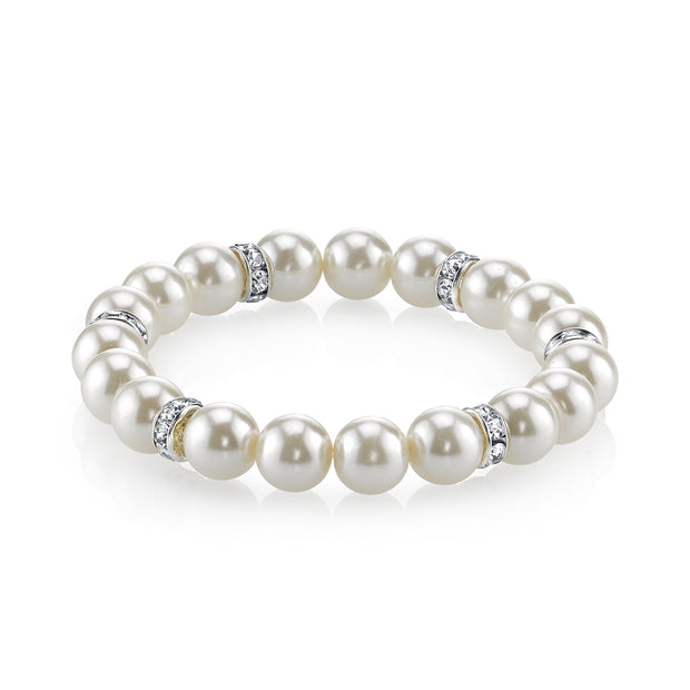 Silver Tone White  Costume Pearl And Crystal Stretch Bracelet