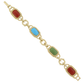 Fashion Jewelry - 2028 Sorrento Gold Tone Multi Color Link Clasp Bracelet