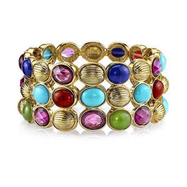Gold-Tone Multi-Color Large 3-Row Stretch Bracelet