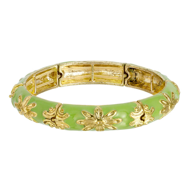 Green Enamel Stretch Bracelet