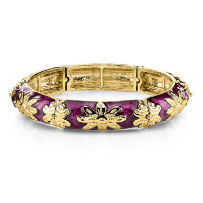 Gold-Tone Purple Enamel Stretch Bracelet