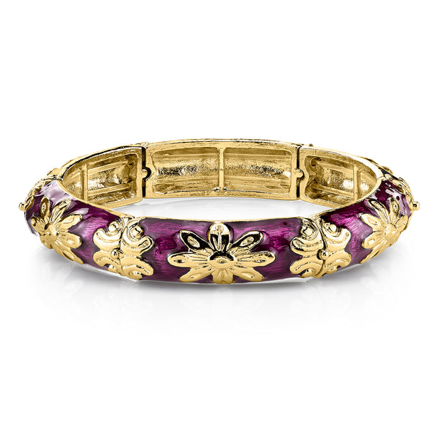 Gold Tone Purple Enamel Stretch Bracelet