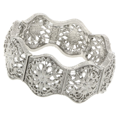 Silver-Tone Flower Filigree Stretch Bracelet