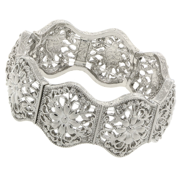 Silver Tone Flower Filigree Stretch Bracelet