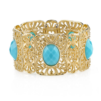 Gold Tone Turquoise Faceted Filigree Stretch Bracelet
