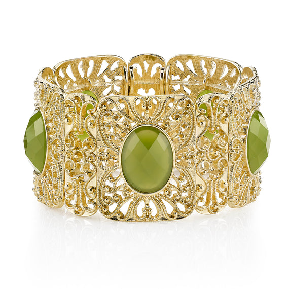 Suriname Gold-Tone Green Filigree Stretch Bracelet