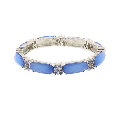 Silver Tone Blue Slim Stretch Bracelet