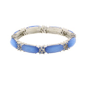 Blue Gold-Tone Oblong Stone And Crystal Accent Slim Stretch Bracelet