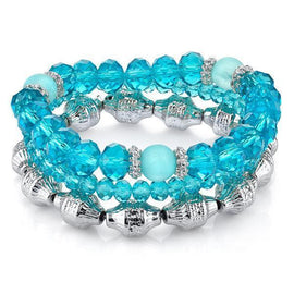 Silver-Tone Aqua Beaded Stretch Bracelet Trio