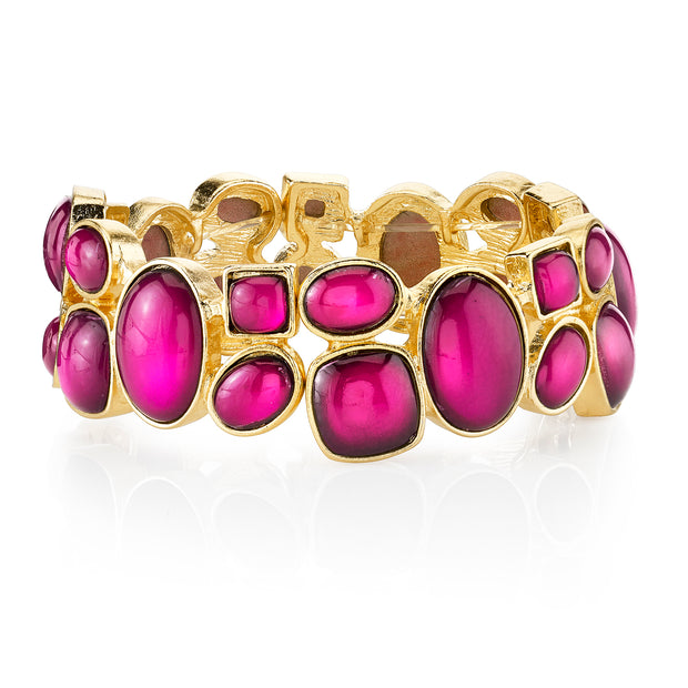 Gold-Tone Fuchsia Stretch Bracelet