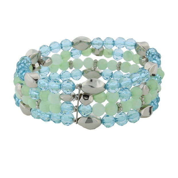 Silver Tone Aqua And Mint Green 4 Row Beaded Stretch Bracelet