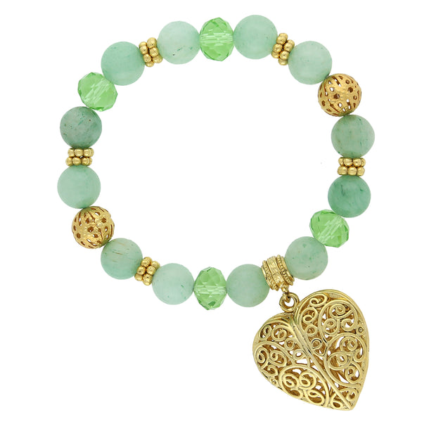Gold Tone Gemstone Filigree Puff Heart Stretch Bracelet