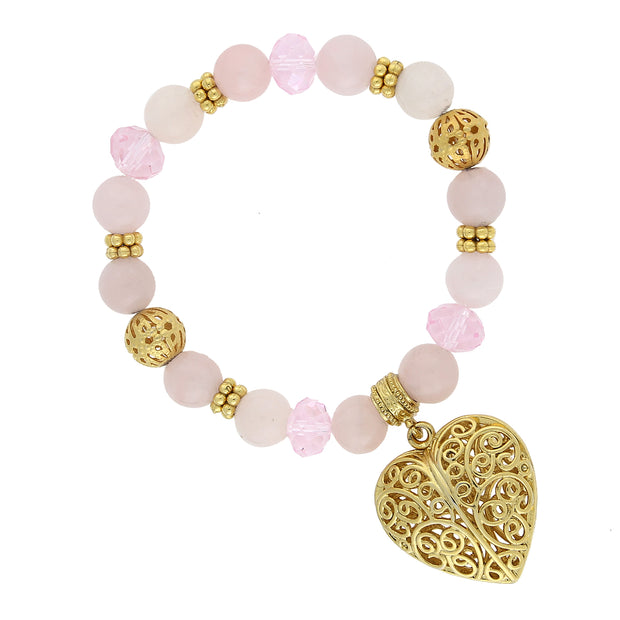 Gold Tone Semi Precious Rose Quartz Filigree Puff Heart Stretch Bracelet