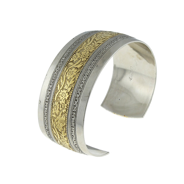 Silver Tone And Gold Dipped Floral Cuff Bracelet