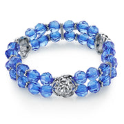Silver-Tone Beaded Stretch Bracelet