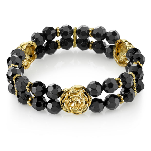 Gold Tone Black Beaded Stretch Bracelet
