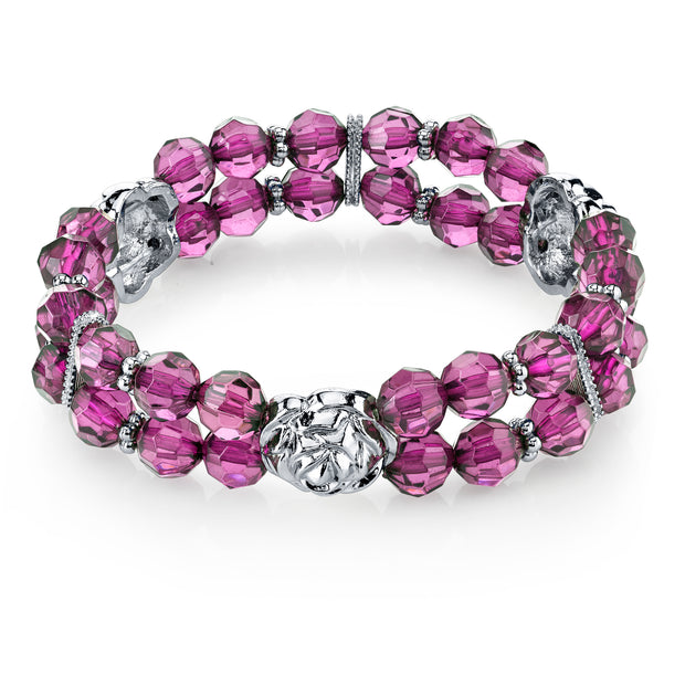 Silver Tone Purple Beaded Stretch Bracelet