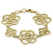 Gold-Tone Hammered Flower Bracelet