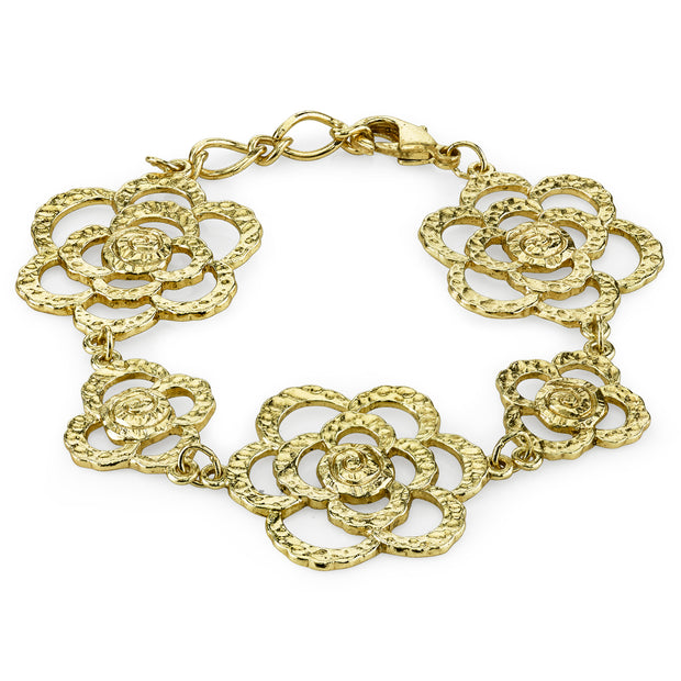 Gold Tone Hammered Flower Bracelet