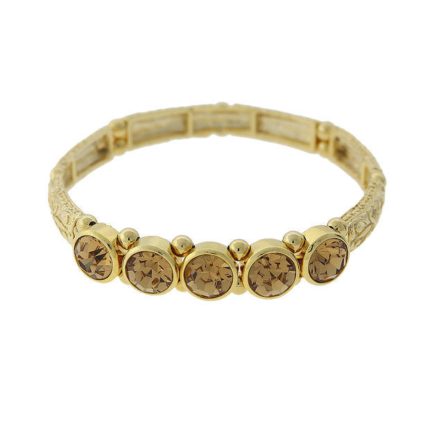 Gold-Tone Light Topaz Color Crystal Stretch Bracelet