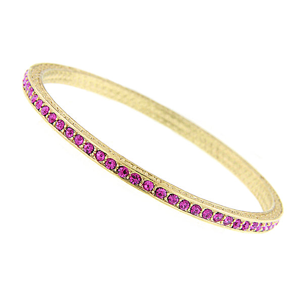 Gold-Tone Swarovski Elements Fuchsia Bangle Bracelet